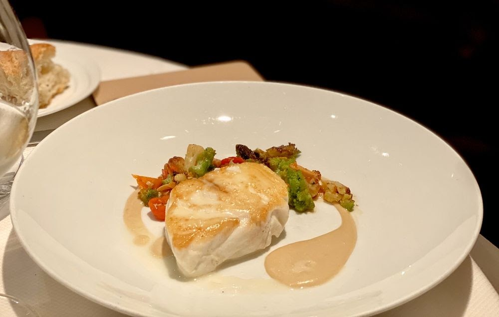 Photo of Marea - New York, NY, United States. Ippoglosso - halibut, heirloom tomato, cucumber fairytale eggplant, mint