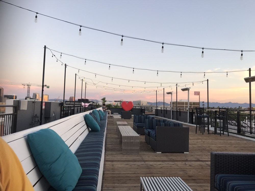 Photo of The Clarendon Hotel - Phoenix, AZ, United States. Rooftop at sunset is fantastic