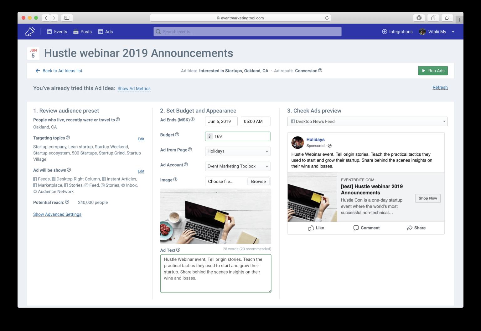 Event Marketing Toolbox Ad Creation