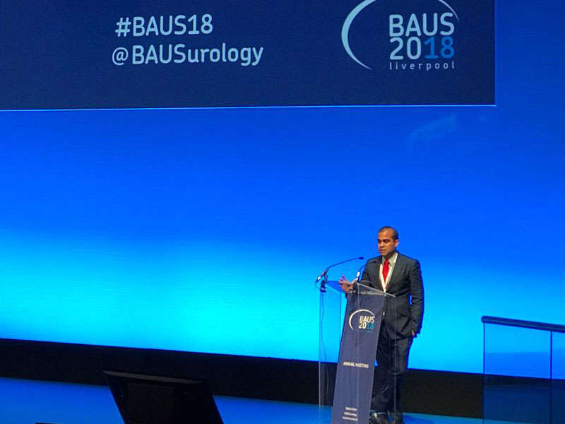 Marc presenting on the stage at BAUS