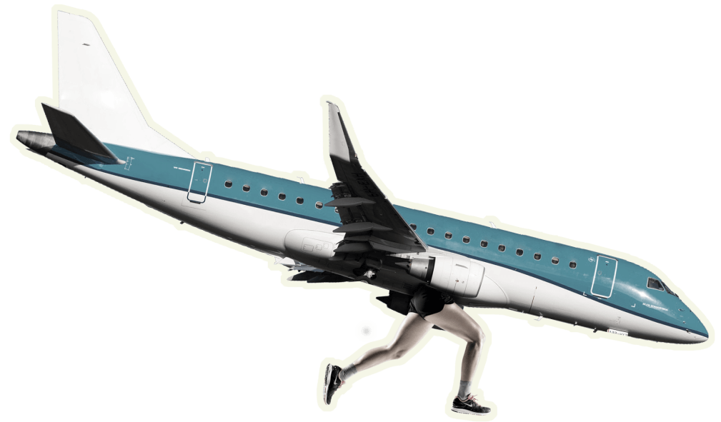 Picture of an airplane with woman legs