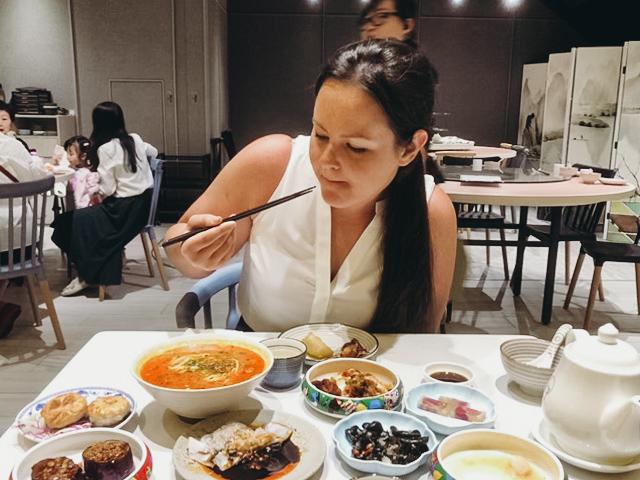 Enjoying Hong Kong food