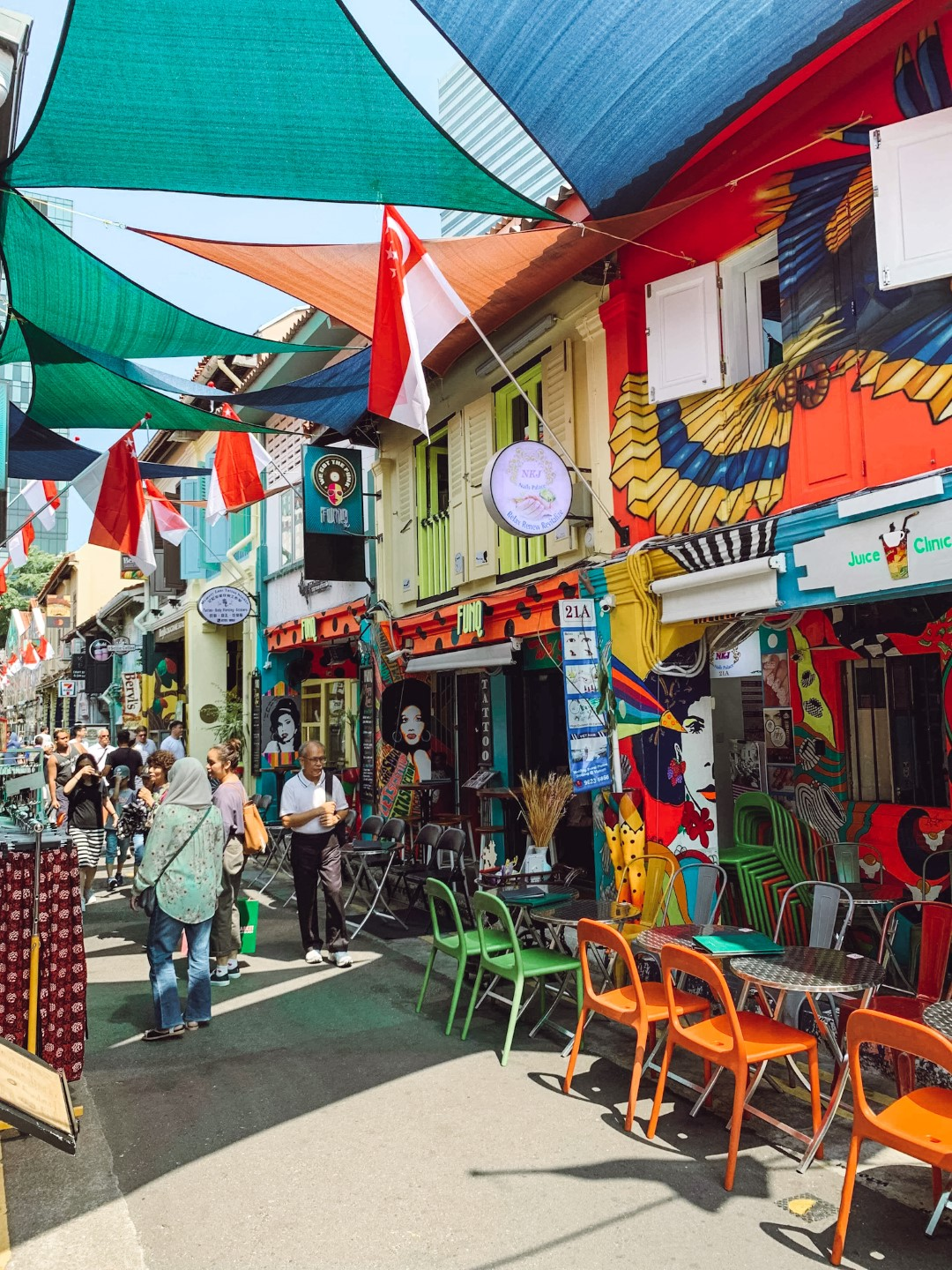 The bright and colorful Haji Lane, Singapore