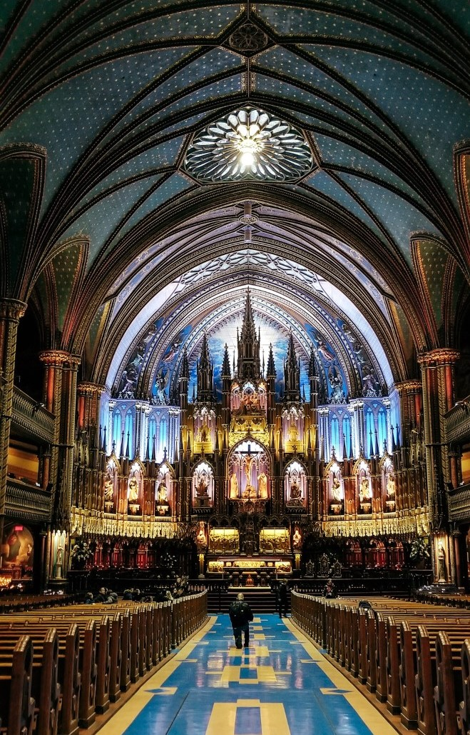 the interior of the notre dame basilica of montreal