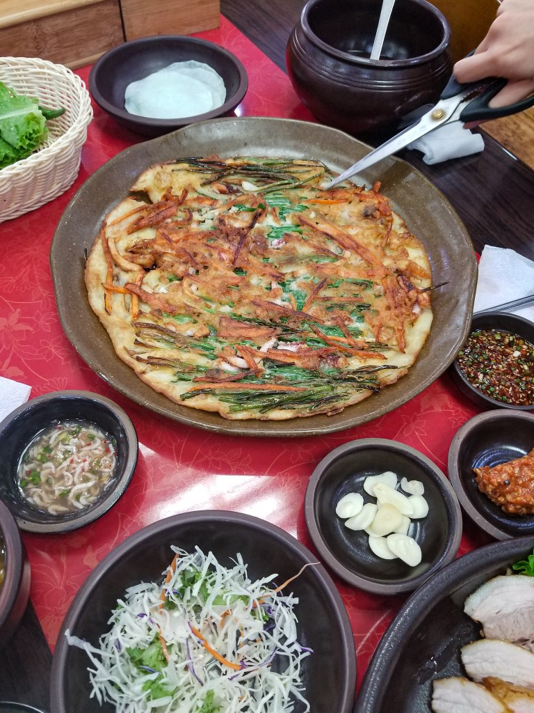 A delicious buchimgae, or Korean pancake, in Jeonju