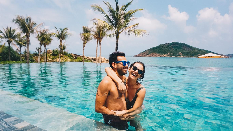 Happy couple in the pool at Anantara Quy Nhon Villas