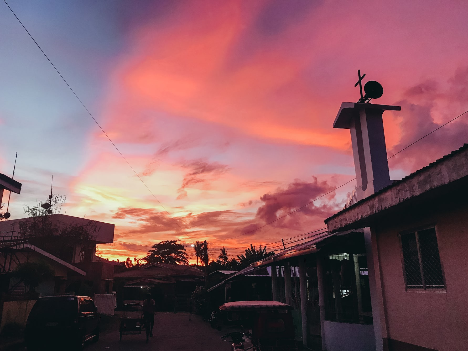A vibraet red and pink sunset in Tacloban City, Philippines