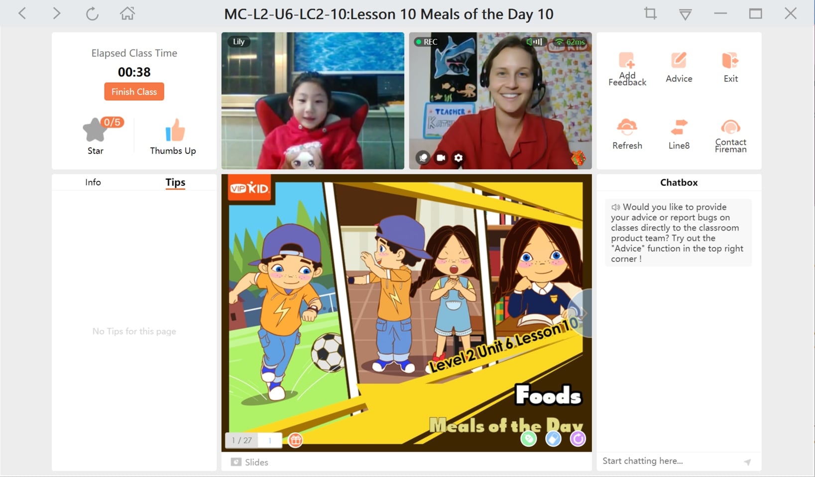Screenshot of VIPKID virtual classroom
