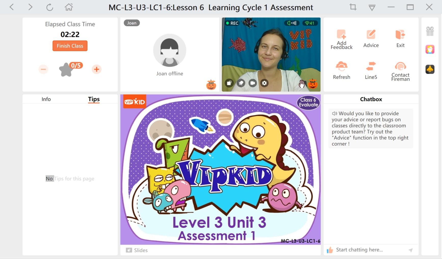 a screenshot of the VIPKID virtual classroom