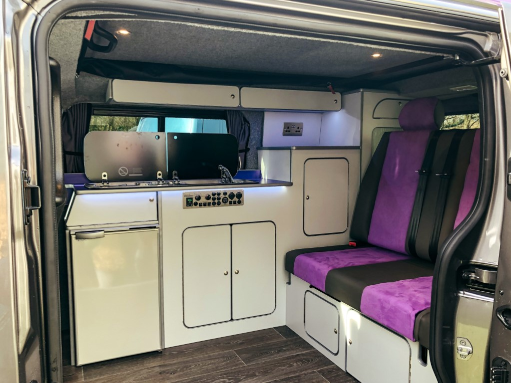 An interior view of a new camper van