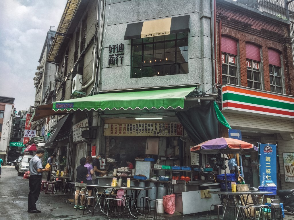 An open air street food kitchen in the heart of Taipei, Taiwan