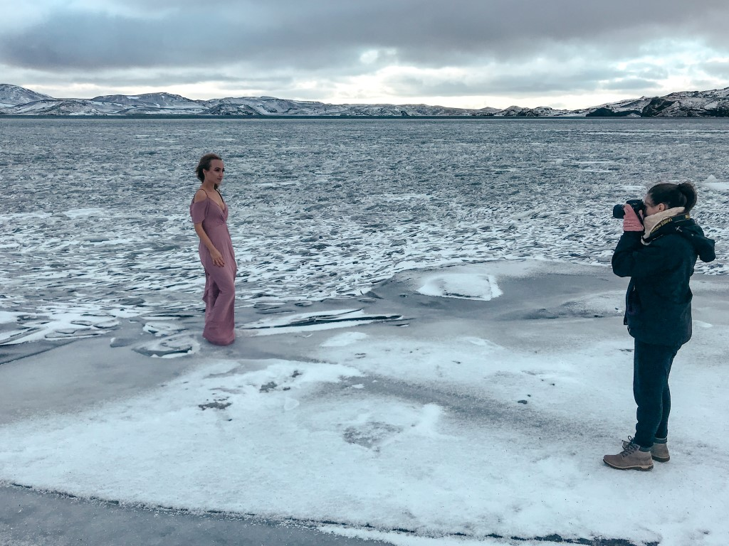 Behind the scenes of a photo shoot in Iceland