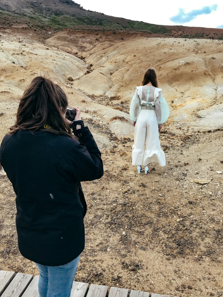 behind the scenes of a photography shoot in Iceland