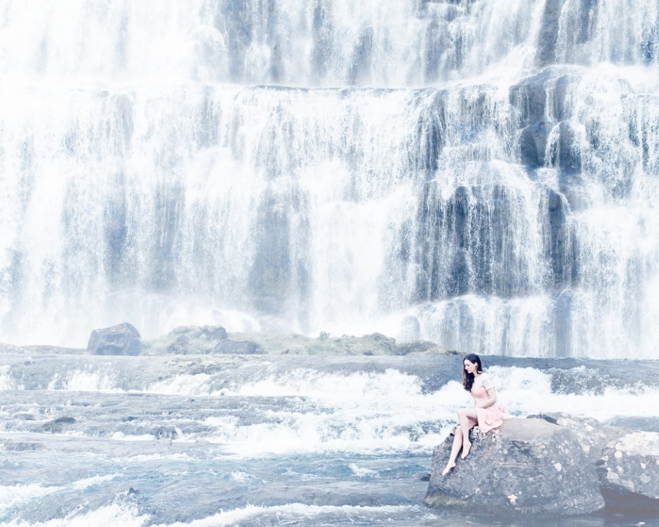 Scene from photography shoot in Iceland in front of waterfall