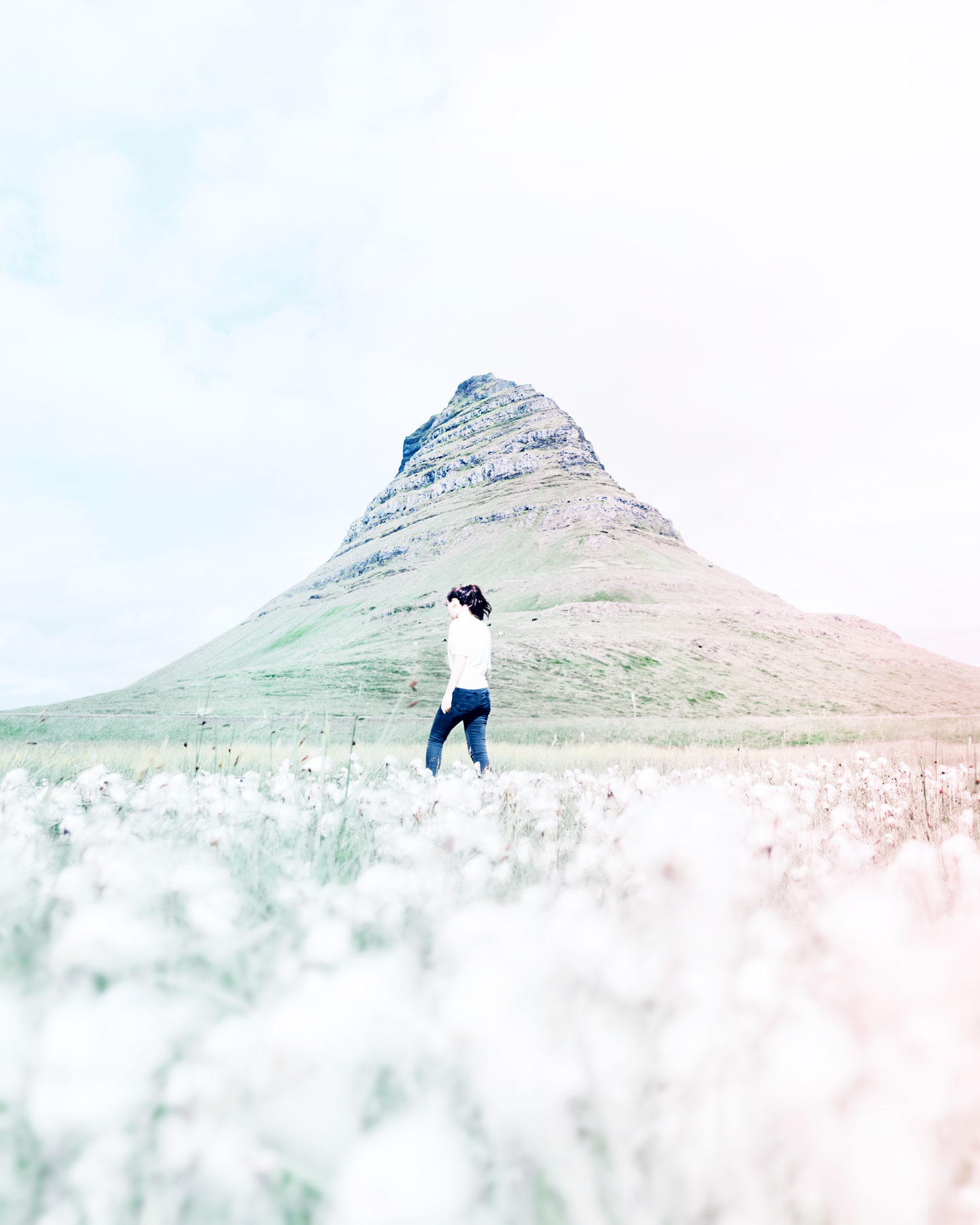 a shot from a photoshoot in Iceland with a green mountain background.