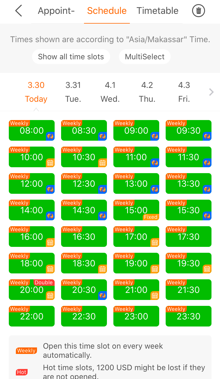 A screenshot of the scheduling page on the English teaching app, PalFish