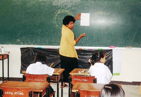 A teacher in Phuket, Thailand teaching students in front of a blackboard