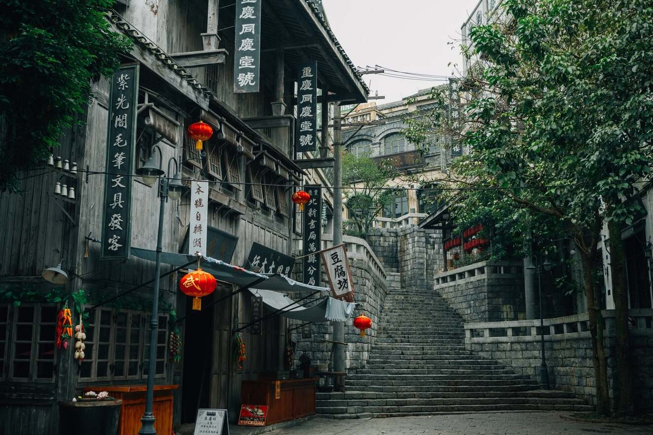 A small and quiet Chinese town during the day with no people around