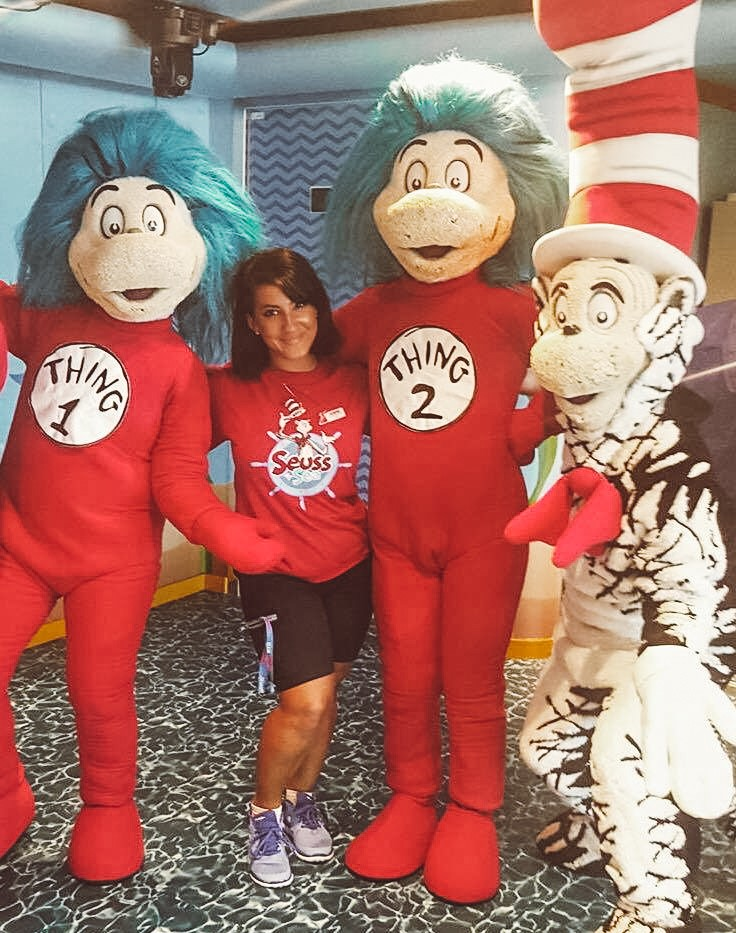 Cruise ship crew dressed up for a Dr. Seuss themed night with Cat in the Hat and Thing 1 and Thing 2