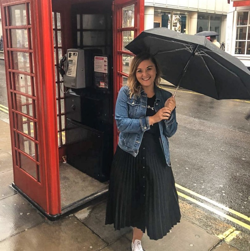 American expat living in London exploring the city in the rain at a red phone booth
