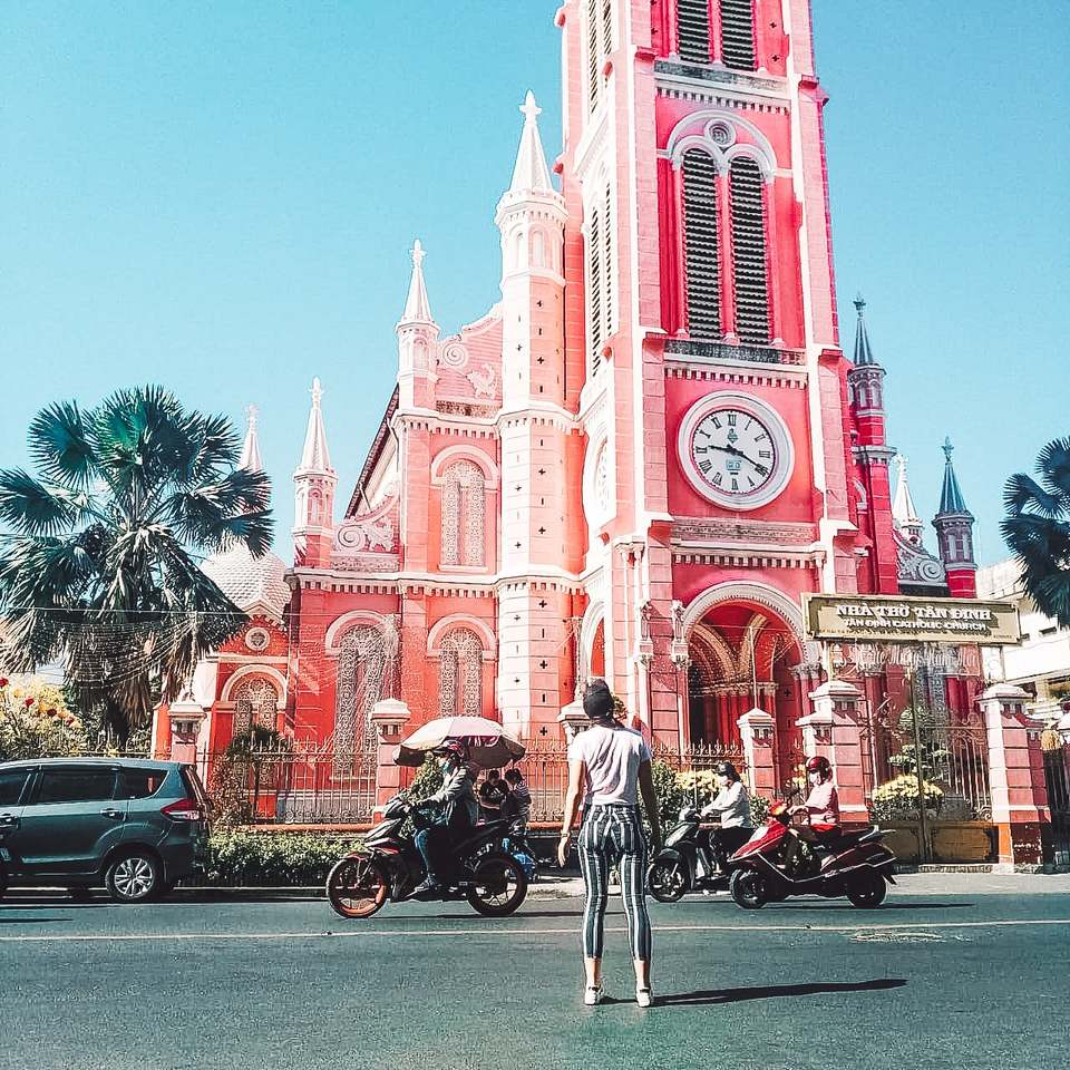 the famous pink church, Tan Dinh, in District 3, Ho Chi Minh City, Vietnam