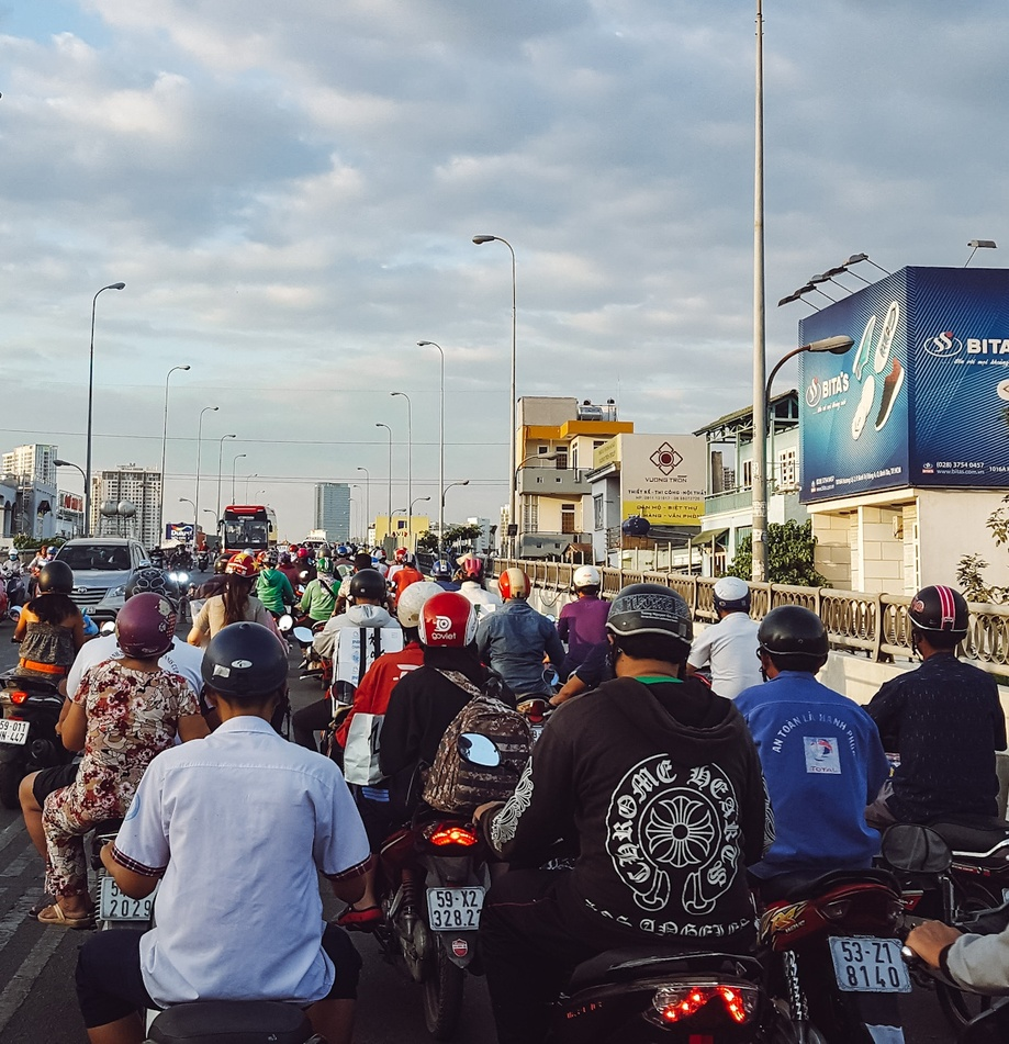 Heavy but typical motorbike traffic in Ho Chi Minh City
