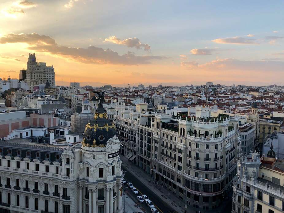 Bird's eye view of Madrid at sunset