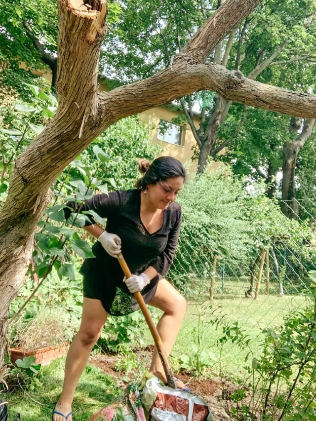 A female volunteer shoveling dirt in a garden in Vienna