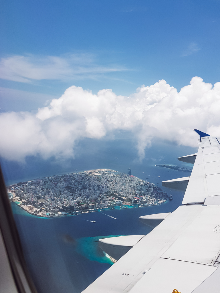 A view of Male, Maldives from an airplane window