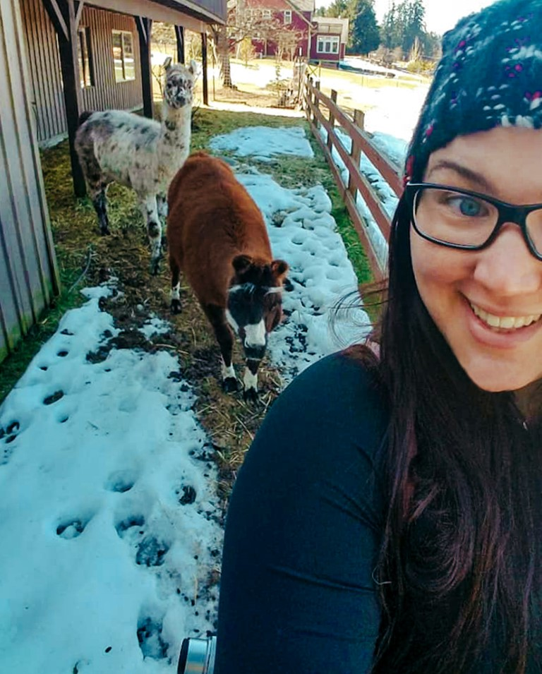 a female housesitter taking care of a pony and a llama in the snow