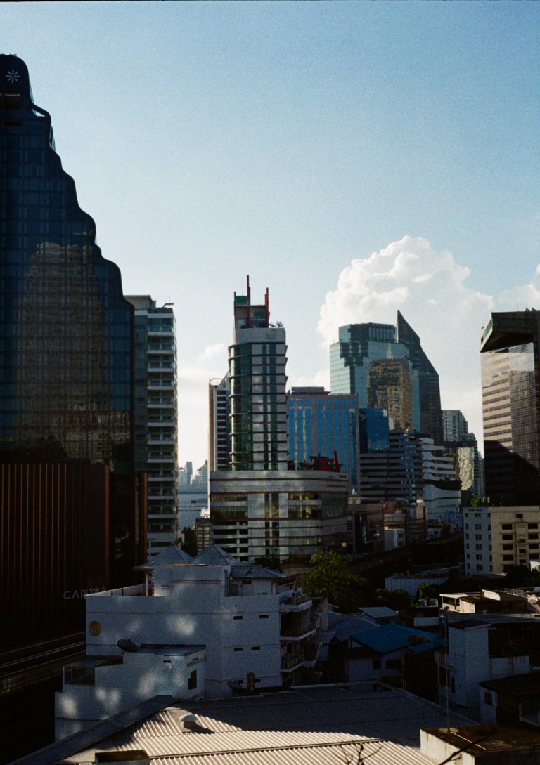 view of the city center of Bangkok on a sunny afternoon