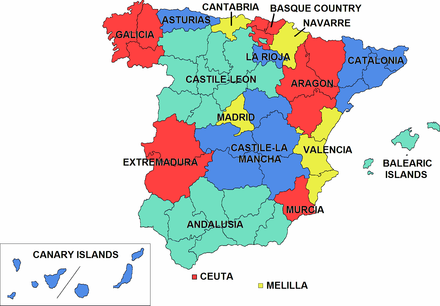 A regional map of Spain color coordinated to show different regions.