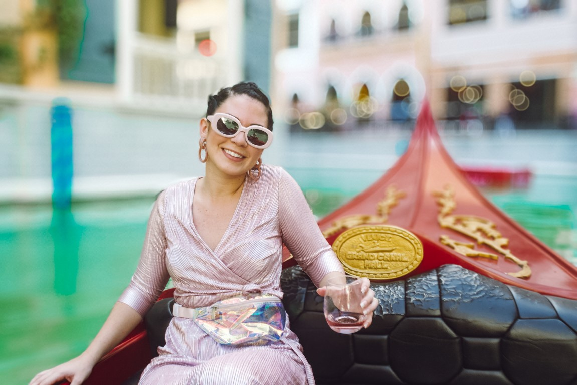 An American woman enjoying a Gondola ride at Venice Grand Mall in Taguig