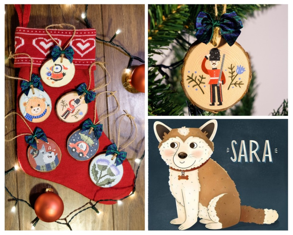 A collage of hand crafted gifts by LaRose Illustrations, including hand painted wooden ornaments and personalized pet portraits