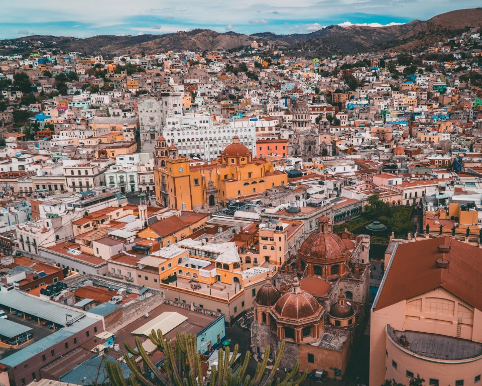 An overhead view of Guanajuato, Mexico on a clear day