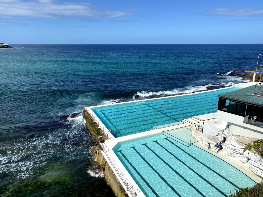 A view of the famous swimming pools overlooking the ocean in Sydney