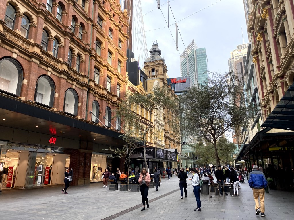 Downtown Sydney on a sunny day with people out shopping