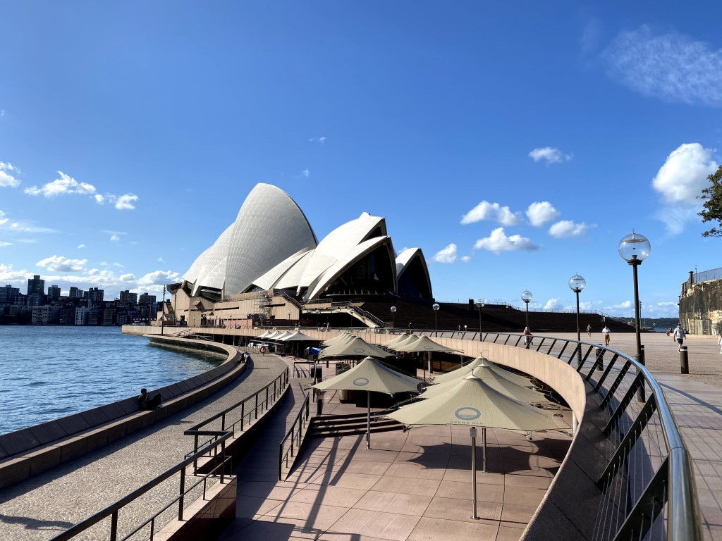 The iconic Sydney Opera House on a clear blue sky day