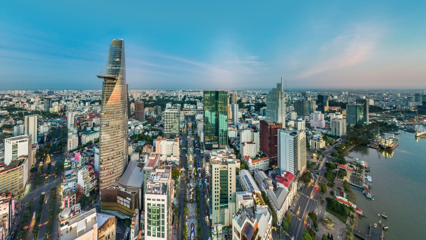 A view of Ho Chi Minh City's skyline on a sunny afternoon day