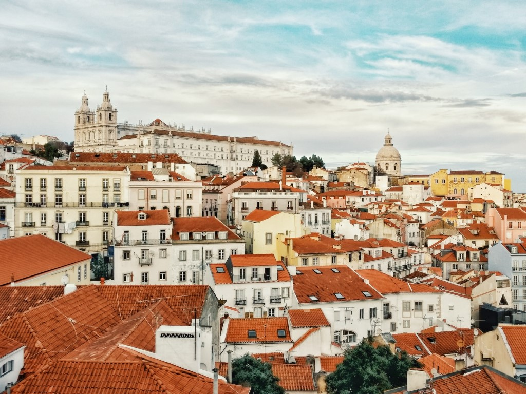 Beautiful red tiled rooftops in Portugal