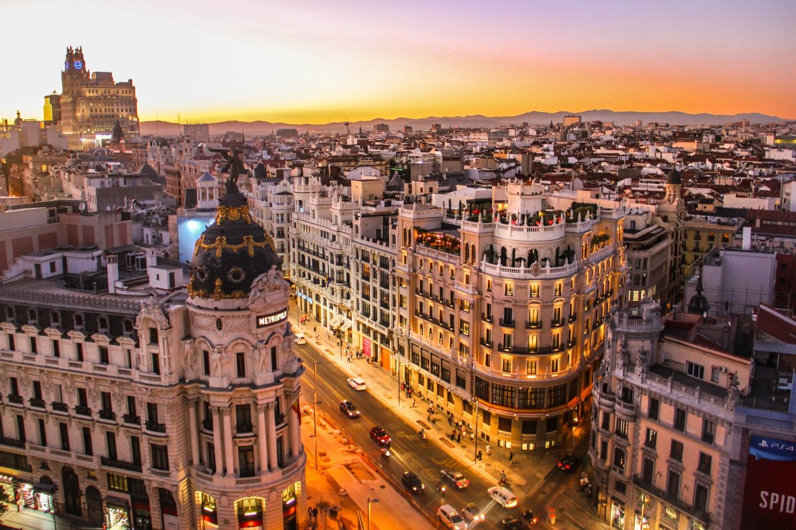 Madrid, Spain with a skyline view at sunset