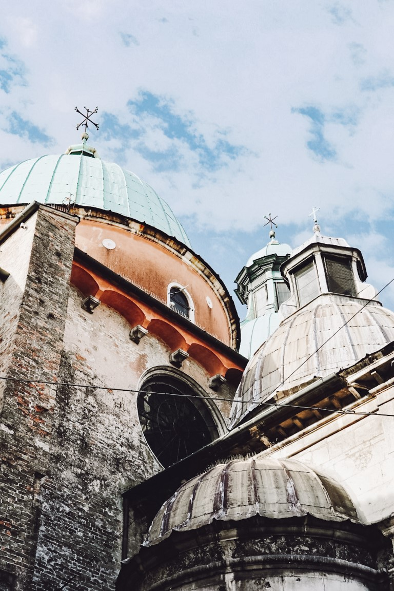 Dome roofs with a blue sky in Treviso, Italy