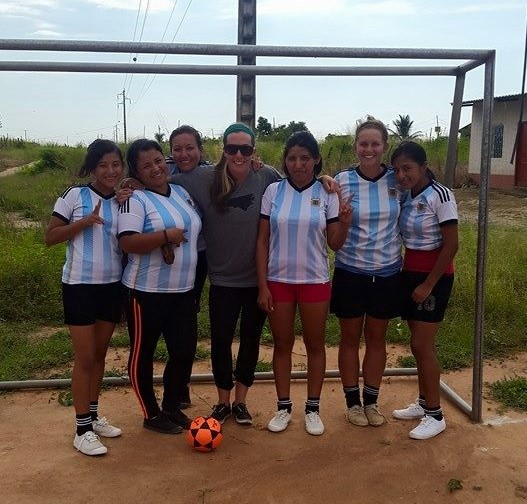 A group of women in Ecuador getting ready for a soccer match in Arenillas