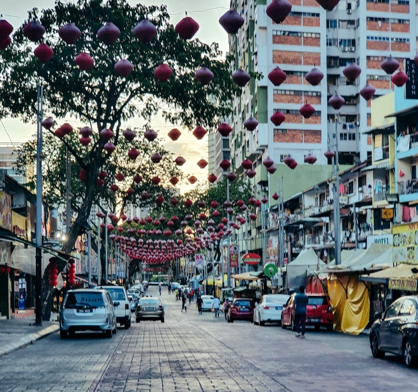 Jalan Alor (during lockdown - usually crowded with outdoor dining and people - now quiet at sunset