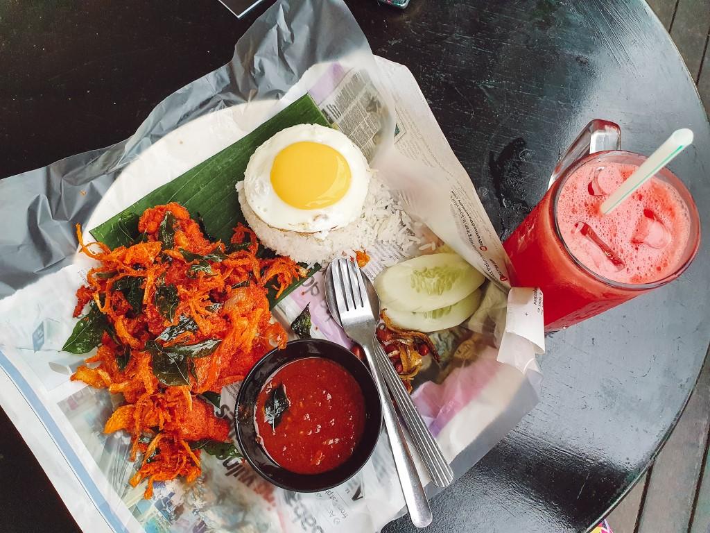 Nasi lemak - national dish of Malaysia at Kedai Mamak Husin in Bukit Bintang