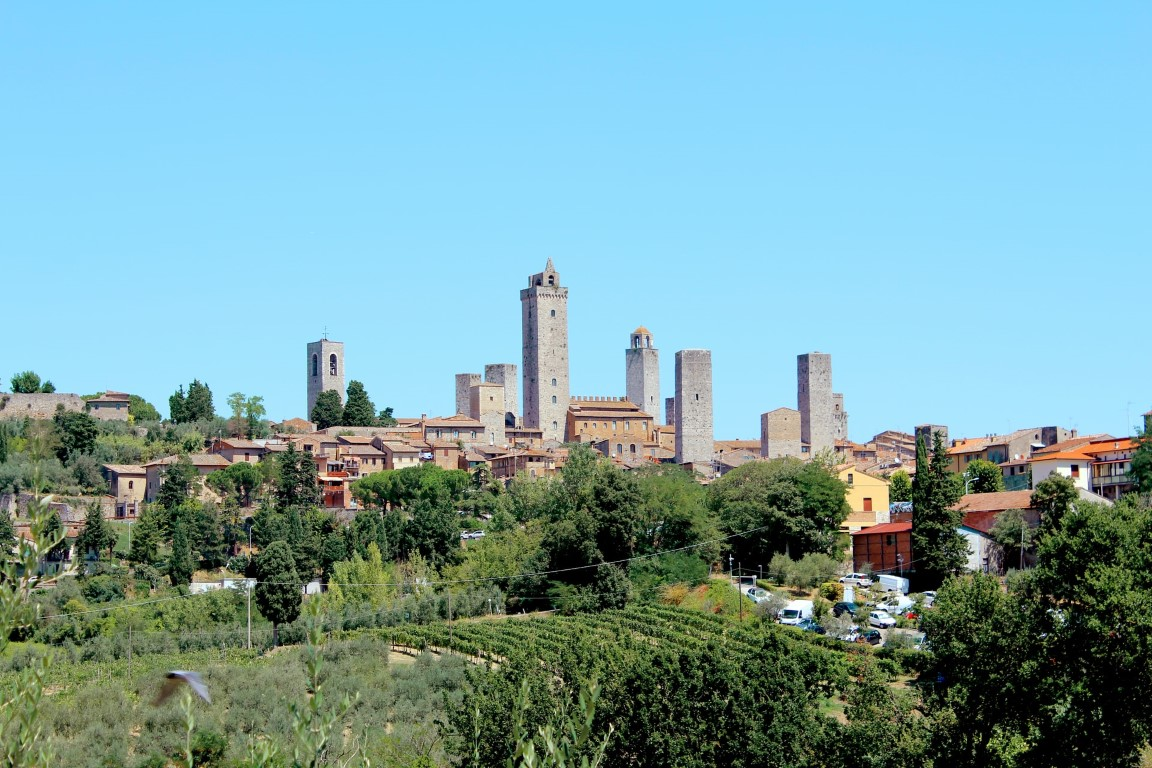 San Gimignano, Italy, view from a far with it's medieval towers looming above