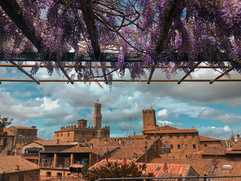 A glimpse of Volterra, from a balcony covered in purple flowers