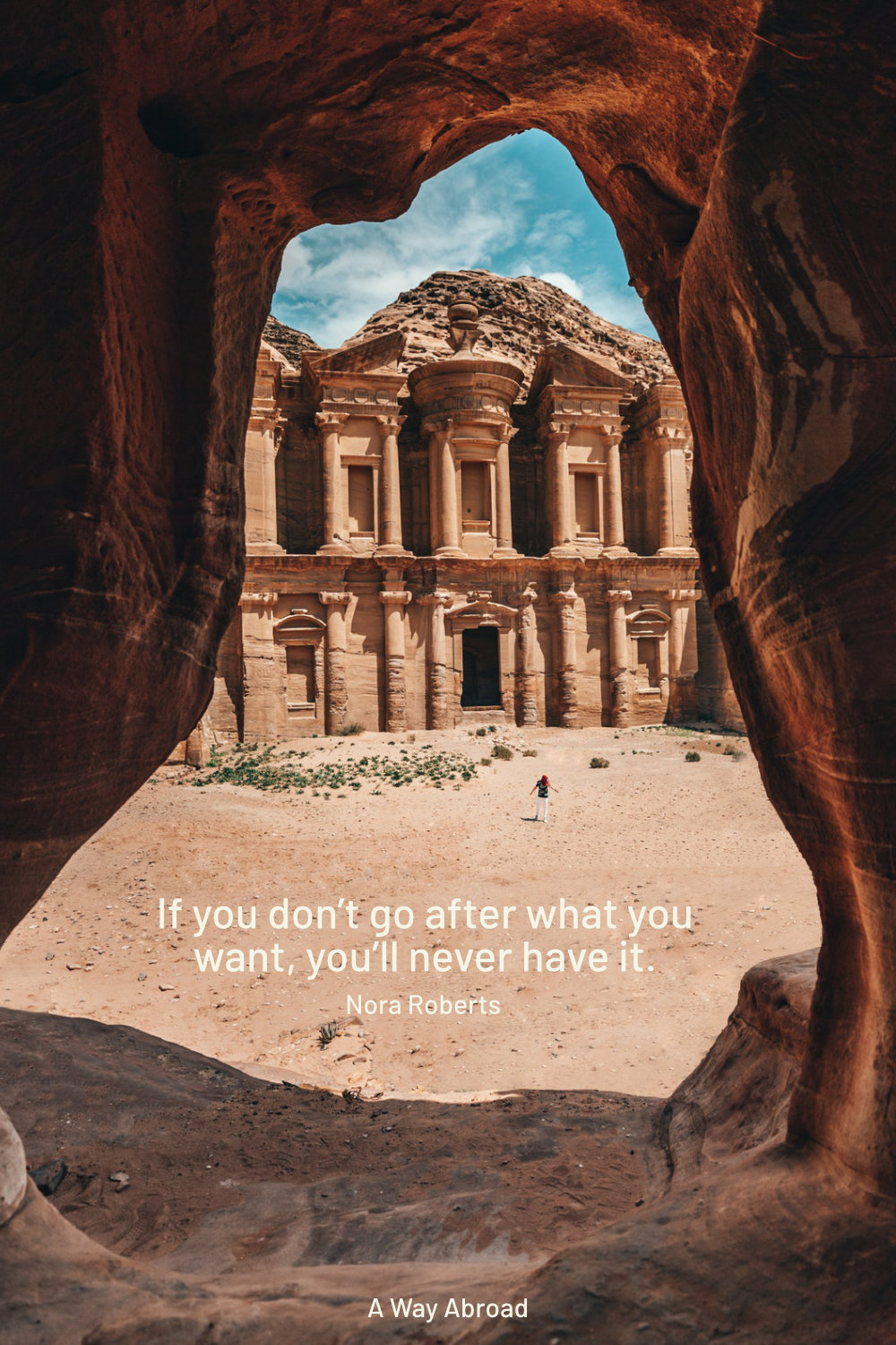 travel quote for motivation to travel more overlay in front of Jordan