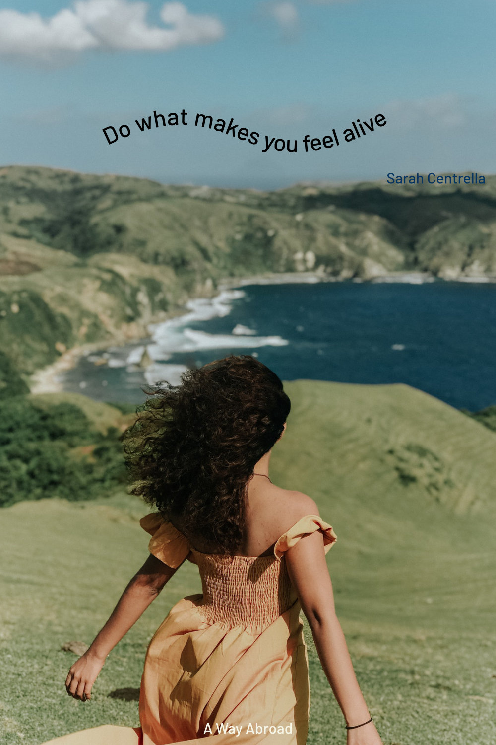 wavy wanderlust travel quote over a travel picture of a woman looking at the coast
