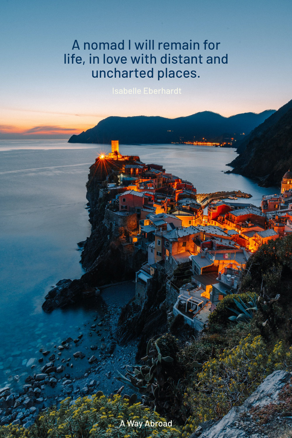 European town on a rocky peninsula at the sunset